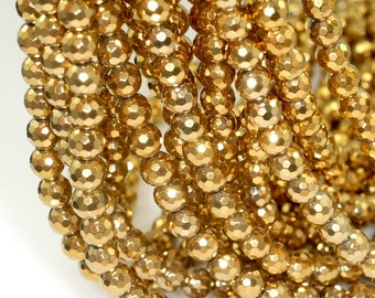 6mm Gold Hematite Gemstone Gold Faceted Round 6mm Loose Beads 15 inch Full Strand (90189026-354)
