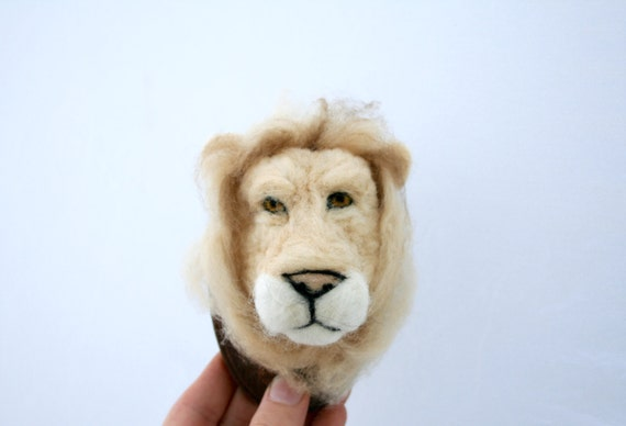 Felted Faux-taxidermy Lion