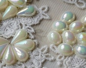 8 x 12 mm Tear Drop / 8 x 10mm Oval shape AB Beige Color Flat Back Pearl Cabochons (.mthg)