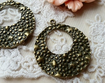 34 mm Antique Bronze (one-sided) Charm Pendants / Connectors (.nh).