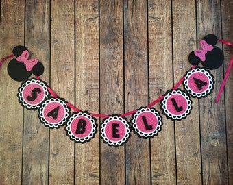 Minnie mouse inspired birthday/Name banner