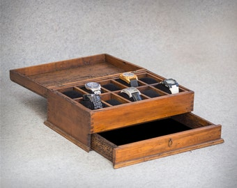 Personalized Rustic Men's Watch Box for 10 watches and drawer - wood top