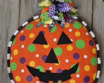 Ready to ship- Jack O Lantern Pumpkin Burlap Door Hanger