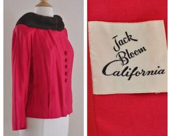 Vintage Shocking Pink Fur Collar Jacket by Jack Bloom of California 1950s 1960s 50s 60s Short Jacket Raspberry Red Size Medium