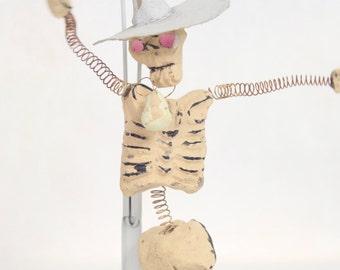 Mexican Day of the Dead Figurine Skeleton in Sombrero Mexican Folk Art Weird Dia de los Muertas