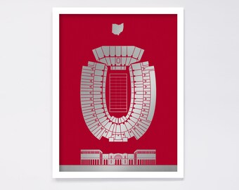 Ohio Stadium Screenprint: Ohio State Buckeyes