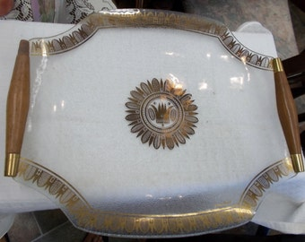 Georges Briard Wood Handle Glass Serving Tray Relish Tray Sandwich Platter Danish Modern Gold Crown