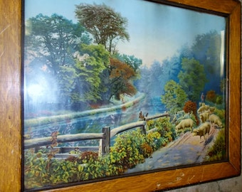 Antique Color Lithograph Sheep Shepherd River Rural Pastoral Scene In Wood Frame