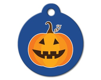 SALE Halloween Pumpkin Pet Tag - Dog Tags for Dogs - Custom Pet ID Tag for Dogs or Cats, Personalized Dog ID Tag, Sizes Small and Large