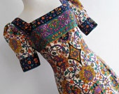 JEAN PATOU . Art Nouveau Princess . Absolutely Stunning Babydoll French Made In France Corduroy Velvet Print S 60s