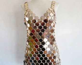 23% OFF :) PACO RABANNE . The Golden Girl . Iconic Rhodoid Disks Chain Mail Futuristic Avant Garde Rare Collectible Dress 60s  Xs S M