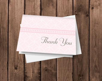 Light Pink - Baby Girl - Thank You Cards - Notecards - Stationery