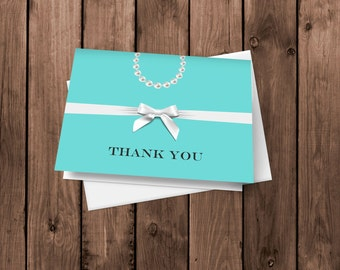 20 Robin's Egg Blue - Jewelry Box Inspired - Thank You Cards