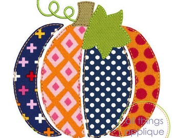 Patchwork Pumpkin Applique Design - BEAN Stitch (#806) - Fall Applique Design - 4 Sizes - INSTANT DOWNLOAD