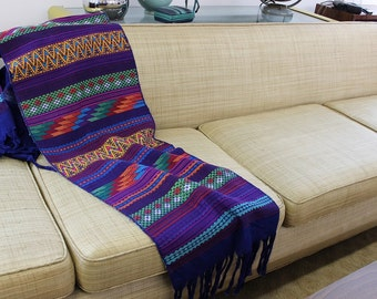 Guatemalan textile runner for sofa, table or credenza colorful