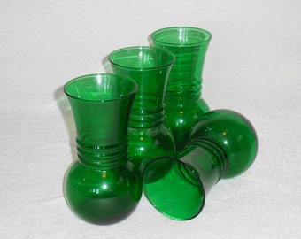Emerald Green Anchor Glass Vase, Bulb Vases with Center Rings, Anchor Hocking