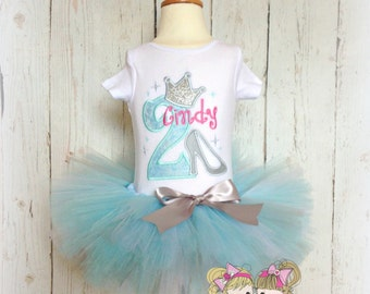 Birthday Princess Tutu set- Glass slipper- Blue, Silver, White, and Pink- Custom embroidery
