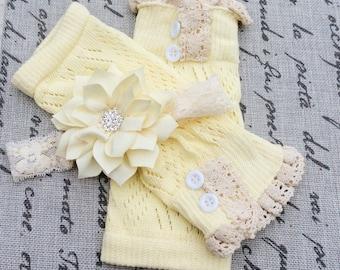 baby girl legwarmers lace leg warmers light yellow ivory leg warmers ivory knit lace trim legwarmers photo prop baby legwarmers