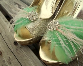 Wedding Shoe Clips, Bridal Shoe Clips,Feather Shoe Clips,Mint Green Shoe Clips, Rhinestone Shoe Clips, Clips for Wedding Shoes, Bridal Shoes