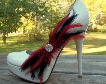 Bridal Shoe Clips,Feathered Shoe Clips, Rhinestone Shoe Clips,Wedding Shoe Clips for wedding shoes, bridal shoes, Black Red, Many Colors