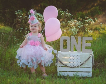 Pink and Silver 1st Birthday Dress - Pink and Silver Flower Girl Dress - Birthday Hat - First Birthday Dress - Birthday Tutu - Cake Smash