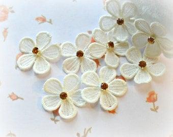 """Venise Flower Appliques. White Flower Appliques. 1.5"""". Set of 5."""