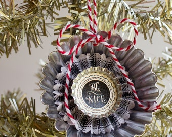BE NICE Paper Rosette Tart Tin Christmas Ornament Menswear Plaid