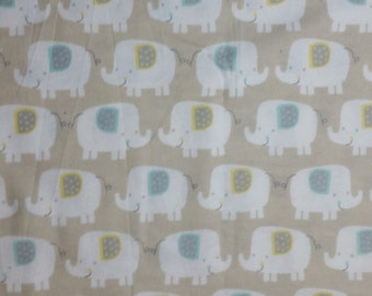 Cotton Flannel Fabric, White Elephants on Light Taupe Flannel - By the Yard - Neutral nursery flannel