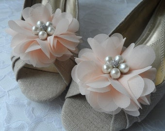 Light Peach Flower Shoe Clips / Hair Clips / Wedding Accessories /  Hair Accessories /Set of 2.