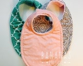 3 Baby Bibs Pick 3 Girls cotton prints and the backing material, triple layer moisture blocking design