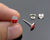 Rod plug earrings silver 925 ladybug
