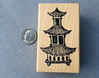 Asian Pagoda Panel Rubber Stamp