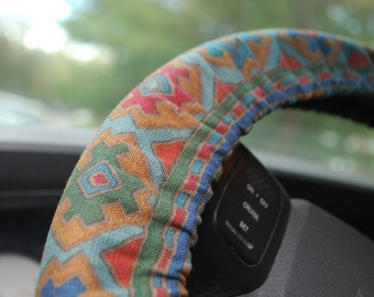 Steering Wheel Cover Multicolored Aztec patterned