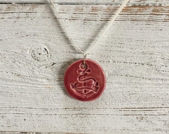 Burgundy Ceramic Anchor Pendant, Nautical, Beach, Ocean, Anchors, Unique Gift, Ceramics, Fall, Anchor Jewelry, Ceramic Jewelry