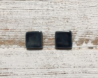 Navy Blue Ceramic Square Earrings, Modern, Minimal, Fall, Navy, Unique Gift, Modern Earrings, Gift, Ceramics, Ceramic Earrings