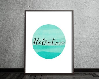 Hello Love Circle Print Abstract Art Poster Mid Century Modern Geometric Minimalist Modern Contemporary