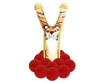 Wooden Tiger Slingshot with 12 Red Felt Ball Ammo - hunting slingshot, wooden slingshot, best slingshot, toy slingshot, wooden toy, camping