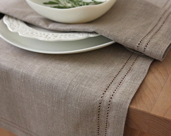 Linen table runner Elbla natural gray brown