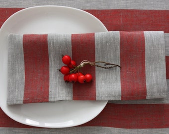 Set of 4 linen napkins Rissa striped Red Gray
