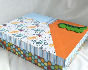 Baby Animals, Dots, Stripes, Dinosaur Memory  Box. Shower Gift, Newborn, Homecoming, Adoption gift. Room Decor. Can Personalize