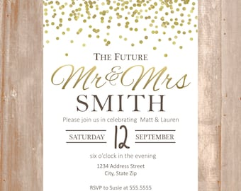Engagement Invitation - White and Gold Engagement Party Invitation