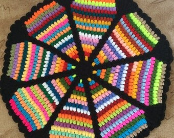African Flower Crochet Blanket Granny Square Afghan By