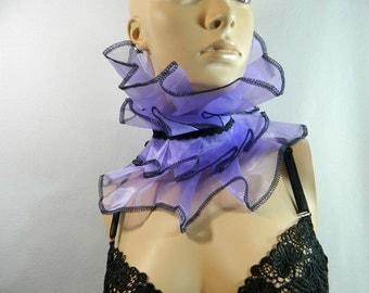Fairy ruffle scarfette collar lavender Fantasy Larping Gothic Cyber Steampunk Burlesque Corset Cape