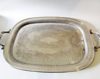 Kent Vintage Silver Plate Tray, Butlers Tray, Two Handled Tray