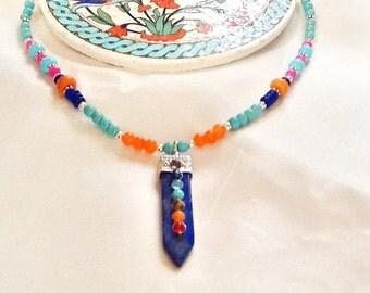 Chakra necklace , lapis lazuli necklace , yoga necklace , meditation necklace , healing necklace , yoga jewelry