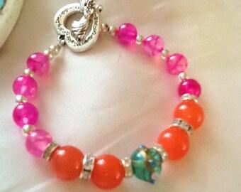 Bollywood style jade and agate bracelet , bohemian gemstone bracelet , pink and orange gypsy bracelet , gemstone indie bracelet