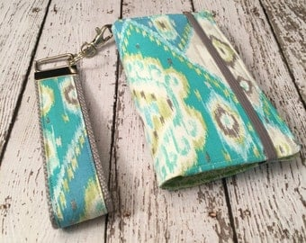 Blue and green ikat print iPhone wallet case, iPhone wristlet with removable gel case