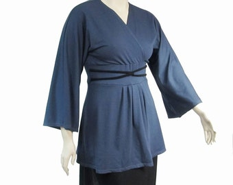 Womens Tunic Empire Waist Top-Kimono Style Shirt-Hand Dyed Organic Cotton/Bamboo Jersey-Made to Order in Custom Size and Color-XXS to Large