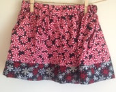 12 - 18 month Christmas Twirl Skirt : Peppermints with Snowflakes