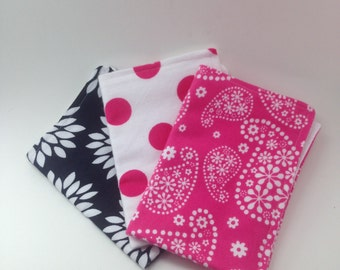 Burp Cloths / Set of 3 Double thickness flannel: Magenta, white and black